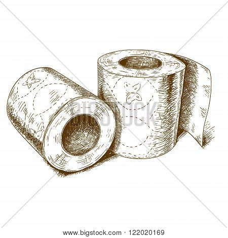Vector engraving antique illustration of a toilet paper on white background