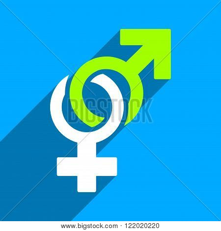 Sexual Symbols long shadow vector icon. Style is a flat sexual symbols iconic symbol on a blue square background.