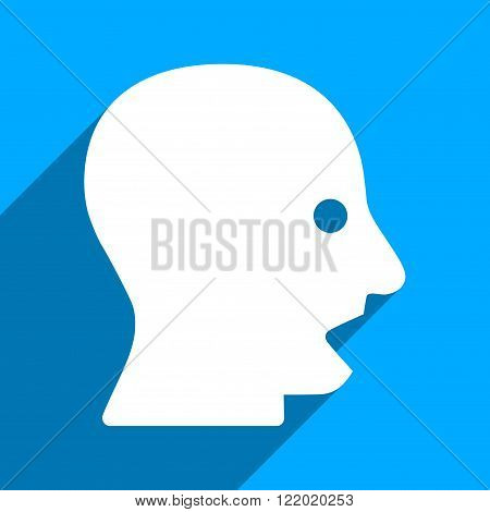 Shouting Head long shadow vector icon. Style is a flat shouting head iconic symbol on a blue square background.