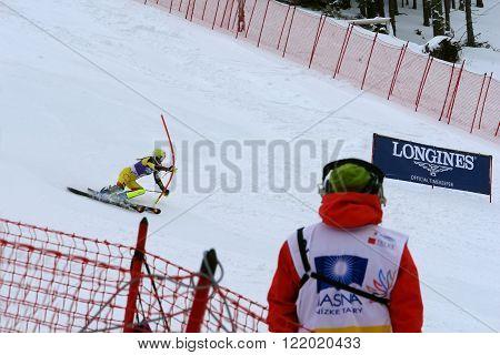 Jasna LIPTOV SLOVAKIA - MARCH 06 2016: Slalom rasing on the slovakian ski resort Jasna in Low Tatras.