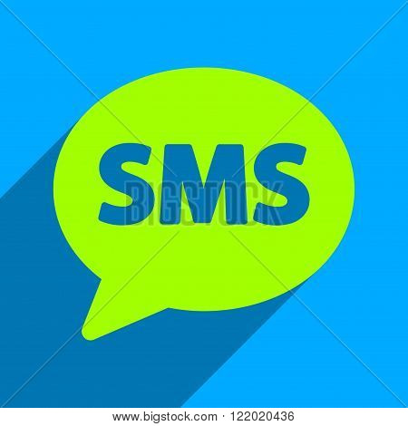 SMS Bubble long shadow vector icon. Style is a flat sms bubble iconic symbol on a blue square background.