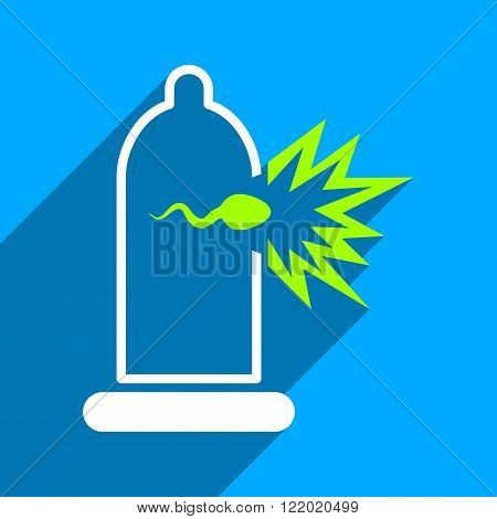 Sperm Escape from Condom long shadow vector icon. Style is a flat sperm escape from condom iconic symbol on a blue square background.