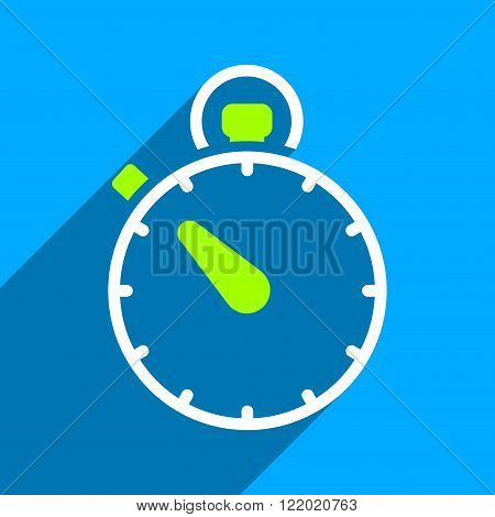 Stopwatch long shadow vector icon. Style is a flat stopwatch iconic symbol on a blue square background.