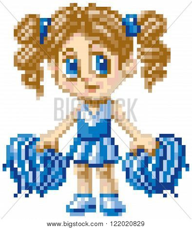 Clip art illustration of a cheerleader girl illustrated in an anime or manga cartoon style rendered as pixel art (in vector art blocks). Each pixel block is editable and the white background is made of pixel blocks too.