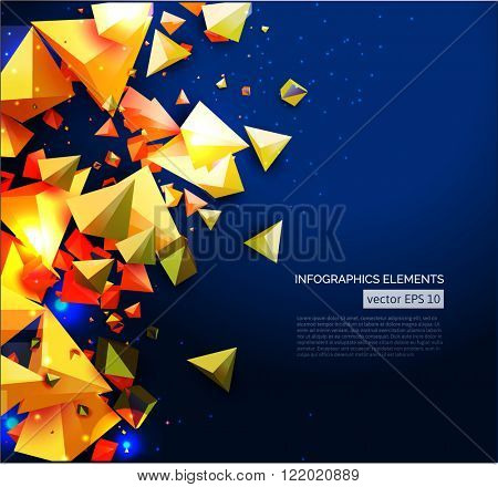 Abstract vector background with overlapping geometric elements with shadows