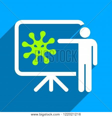 Virus Lecture long shadow vector icon. Style is a flat virus lecture iconic symbol on a blue square background.