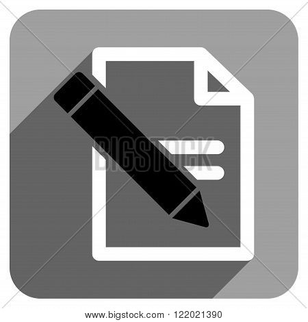 Edit Records long shadow vector icon. Style is a flat edit records iconic symbol on a gray square background.