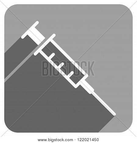Empty Syringe long shadow vector icon. Style is a flat empty syringe iconic symbol on a gray square background.