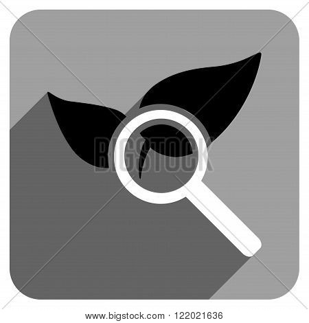 Explore Natural Drugs long shadow vector icon. Style is a flat explore natural drugs iconic symbol on a gray square background.