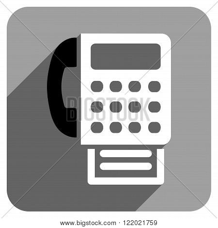 Fax long shadow vector icon. Style is a flat fax iconic symbol on a gray square background.