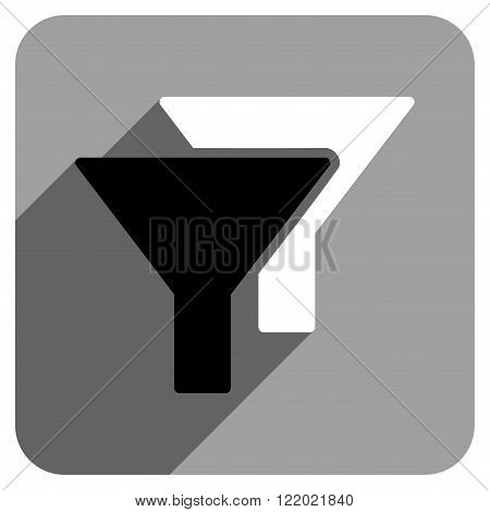 Filters long shadow vector icon. Style is a flat filters iconic symbol on a gray square background.