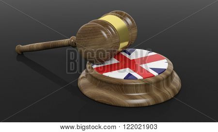 Court hammer with flag of United Kingdom on black background