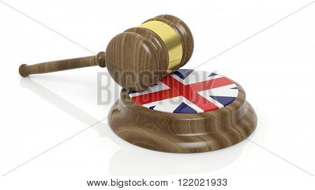 Court hammer with flag of Great Britain on white background