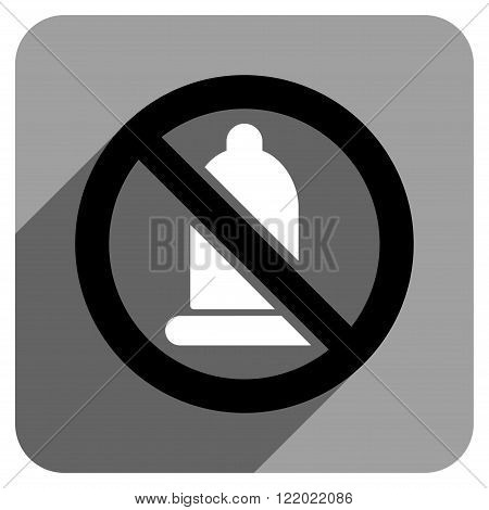 Forbidden Condom long shadow vector icon. Style is a flat forbidden condom iconic symbol on a gray square background.