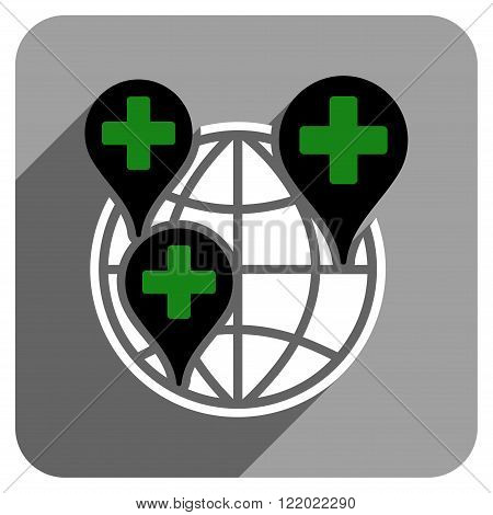 Global Clinic Company long shadow vector icon. Style is a flat global clinic company iconic symbol on a gray square background.