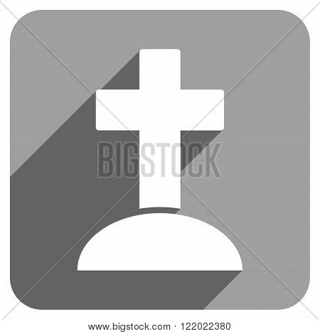 Grave long shadow vector icon. Style is a flat grave iconic symbol on a gray square background.
