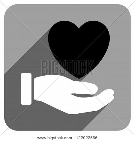 Heart Charity Hand long shadow vector icon. Style is a flat heart charity hand iconic symbol on a gray square background.