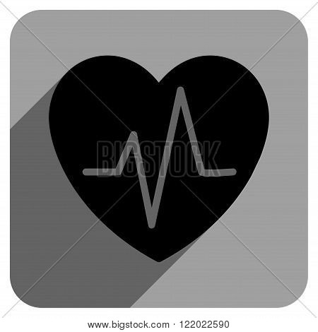 Heart Ekg long shadow vector icon. Style is a flat heart ekg iconic symbol on a gray square background.