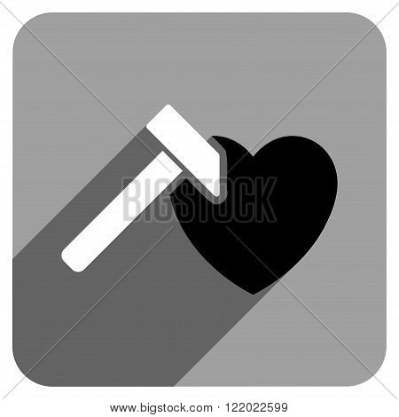Heart Hammer long shadow vector icon. Style is a flat heart hammer iconic symbol on a gray square background.