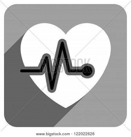 Heart Pulse long shadow vector icon. Style is a flat heart pulse iconic symbol on a gray square background.