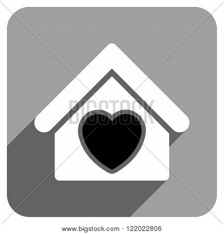 Hospice long shadow vector icon. Style is a flat hospice iconic symbol on a gray square background.