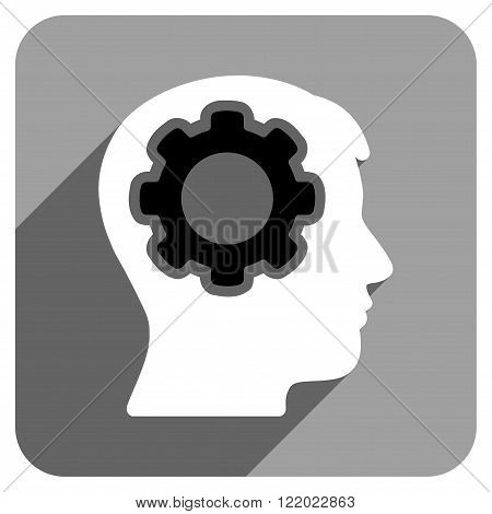Human Mind long shadow vector icon. Style is a flat human mind iconic symbol on a gray square background.