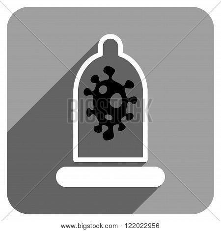 Infection Condom Protection long shadow vector icon. Style is a flat infection condom protection iconic symbol on a gray square background.