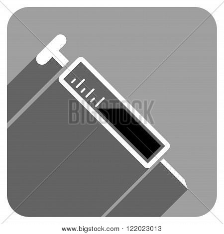 Injection long shadow vector icon. Style is a flat injection iconic symbol on a gray square background.