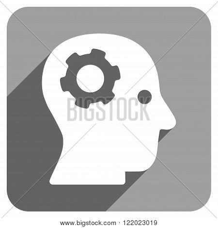 Intellect Mechanism long shadow vector icon. Style is a flat intellect mechanism iconic symbol on a gray square background.