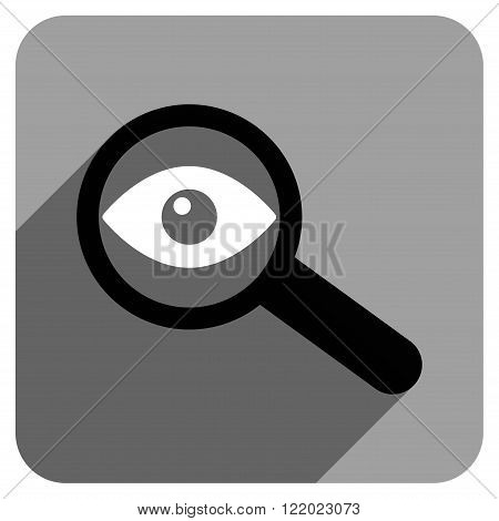 Investigate Vision long shadow vector icon. Style is a flat investigate vision iconic symbol on a gray square background.