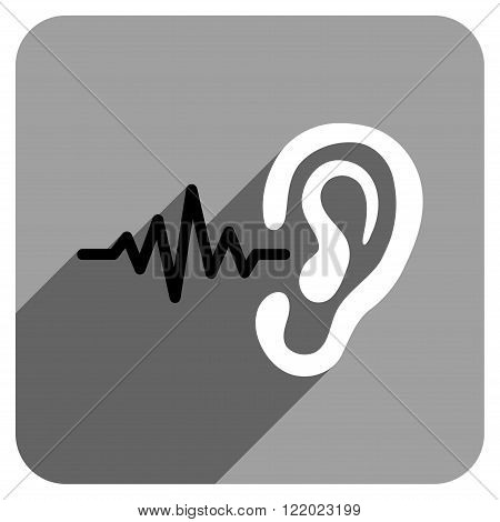 Listen long shadow vector icon. Style is a flat listen iconic symbol on a gray square background.