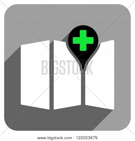 Medical Map long shadow vector icon. Style is a flat medical map iconic symbol on a gray square background.