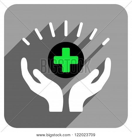 Medical Prosperity long shadow vector icon. Style is a flat medical prosperity iconic symbol on a gray square background.
