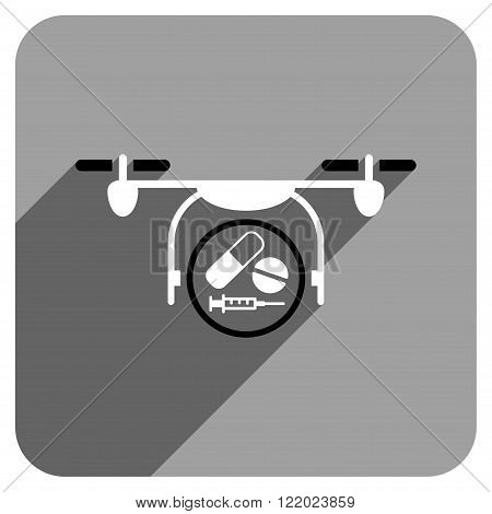 Medication Quadcopter long shadow vector icon. Style is a flat medication quadcopter iconic symbol on a gray square background.