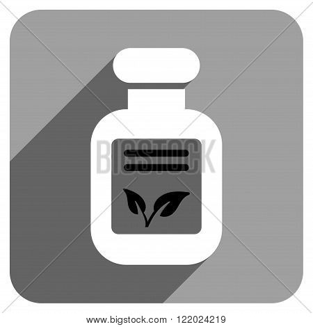 Natural Drugs long shadow vector icon. Style is a flat natural drugs iconic symbol on a gray square background.