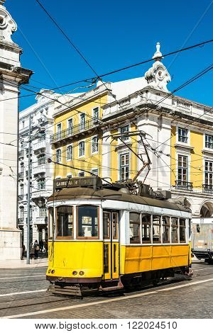 Typical,Tramway view in Lisbon, Portugal, Europe.