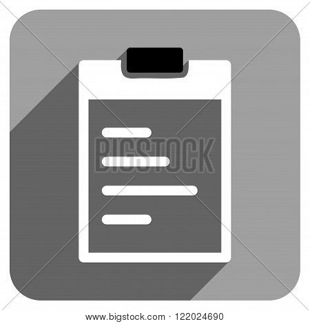 Pad Text long shadow vector icon. Style is a flat pad text iconic symbol on a gray square background.