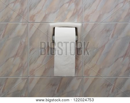 Toilet paper roll on center of marble tiles wall Copy space