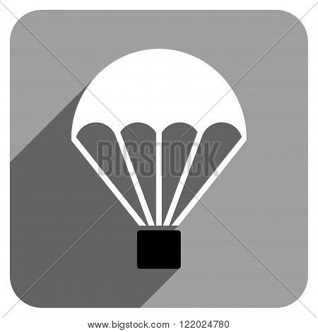 Parachute long shadow vector icon. Style is a flat parachute iconic symbol on a gray square background.
