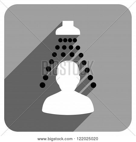 Patient Disinfection long shadow vector icon. Style is a flat patient disinfection iconic symbol on a gray square background.