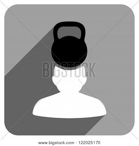 Patient Stress long shadow vector icon. Style is a flat patient stress iconic symbol on a gray square background.