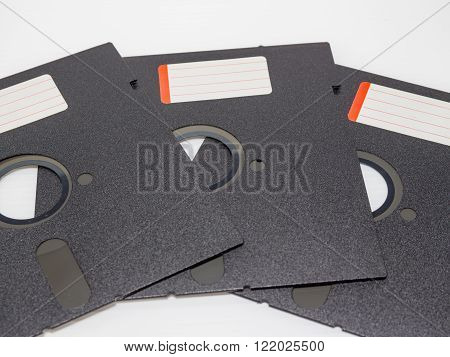 Three old 5.25 inches diskette disk with label no use.