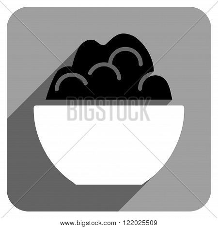 Porridge Bowl long shadow vector icon. Style is a flat porridge bowl iconic symbol on a gray square background.