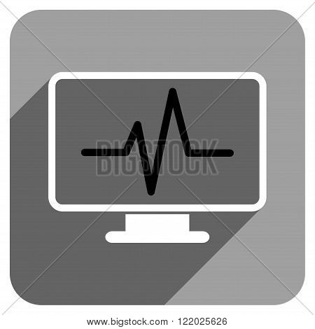 Pulse Monitoring long shadow vector icon. Style is a flat pulse monitoring iconic symbol on a gray square background.