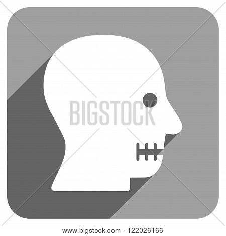 Sewn Mouth long shadow vector icon. Style is a flat sewn mouth iconic symbol on a gray square background.