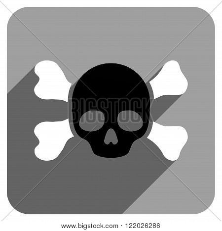 Skull and Bones long shadow vector icon. Style is a flat skull and bones iconic symbol on a gray square background.
