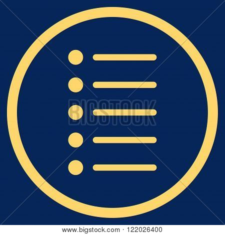 Items vector icon. Style is flat rounded iconic symbol, items icon is drawn with yellow color on a blue background.