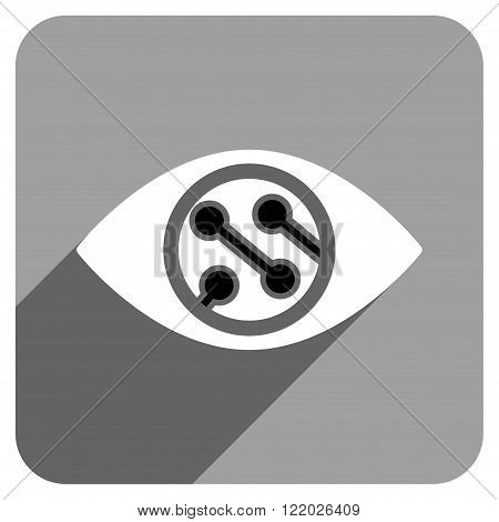 Smart Lens long shadow vector icon. Style is a flat smart lens iconic symbol on a gray square background.