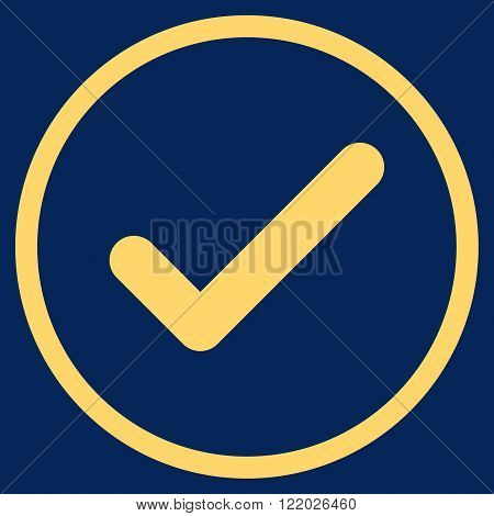 Ok vector icon. Style is flat rounded iconic symbol, ok icon is drawn with yellow color on a blue background.
