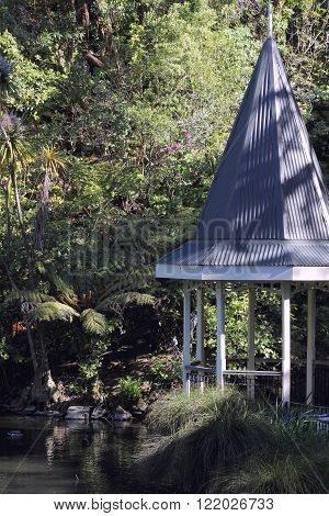 Wellington, NZ - November 5, 2015: Duck Pond Pavilion situated in the Wellington Botanical Gardens
